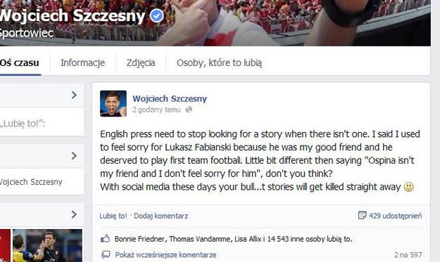 A tak odpowiada Wojciech Szczęsny na Facebooku /INTERIA.PL