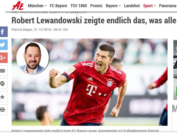 """""""Abendzeitung: chwali Roberta Lewandowskiego /"""