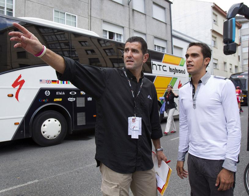 Abraham Olano (z lewej) i Alberto Contador /AFP