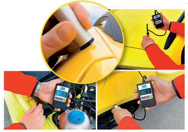 Aby pomiar był prawidłowy, głowica miernika lakieru musi przylegać do nadwozia całą powierzchnią. /Motor