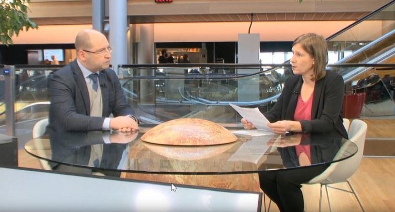 Adam Bielan w rozmowie z Agnieszką Maj w Strasburgu /INTERIA.PL