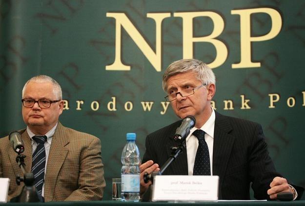 Adam Glapiński (L, członek RPP) i Marek Belka, przewodniczący RPP. Fot Jacek Waszkiewicz /Reporter