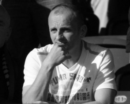 Adam Ledwoń na stadionie GKS Katowice. Maj 2008. fot. Tomasz Błaszczyk /Agencja Przegląd Sportowy