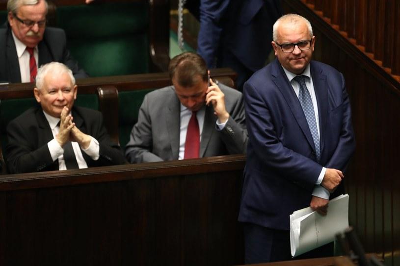 Adam Lipiński (z prawej): Naturalnym kandydatem na premiera jest prezes PiS Jarosław Kaczyński /Andrzej Iwańczuk /Reporter