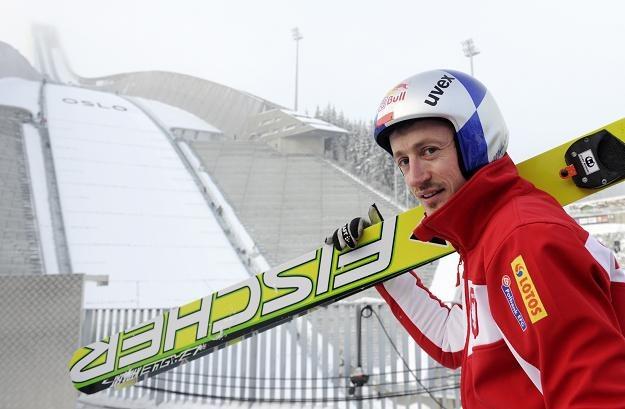 Adam Małysz podczas treningu fot: Grzegorz Momot /PAP