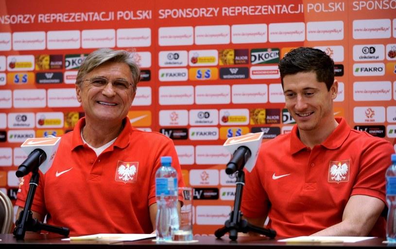 Adam Nawałka i Robert Lewandowski na wtorkowej konferencji przed meczem z Gruzją. /PAP
