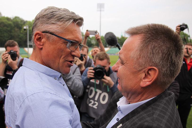 Adam Nawałka oraz Bogusław Kaczmarek podczas benefisu byłego trenera Lechii /GRZEGORZ RADTKE /Newspix