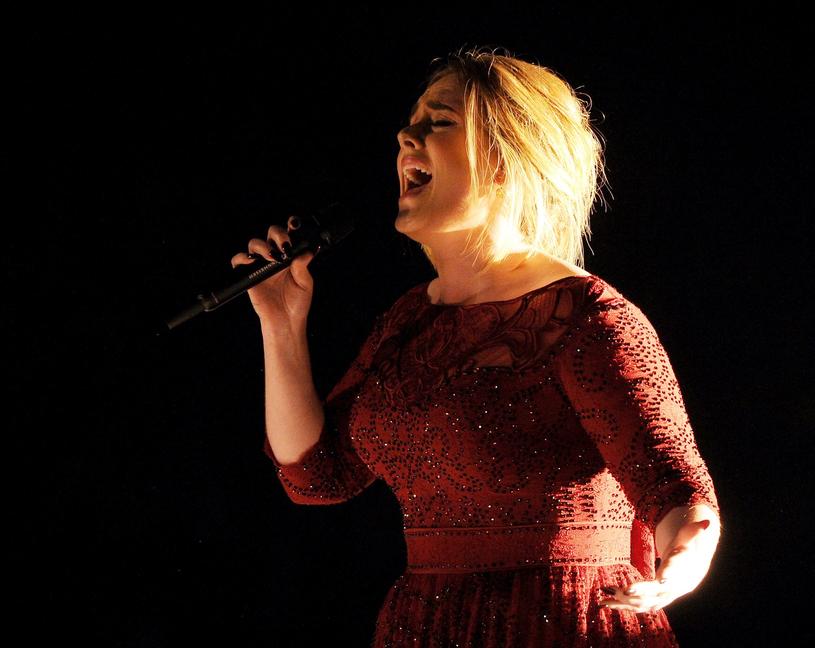 Adele w sukni podkreślającej wcięcie w pasie /East News