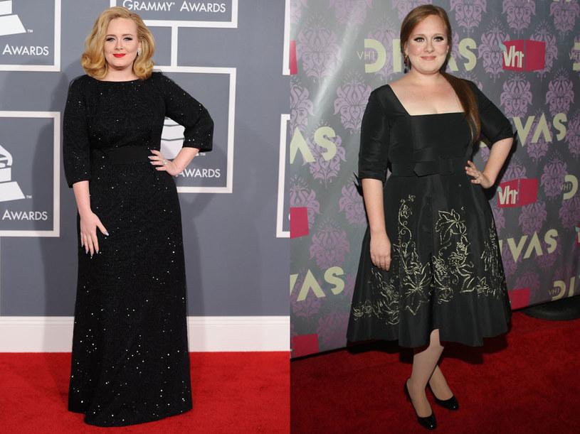 Adele zrzuciła 10 kilogramów dzięki pilatesowi i niskokalorycznej diecie (po lewej - rok 2012, po prawej - 2009) /- /Getty Images