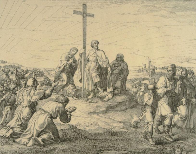 """Adrian Głębocki """"Wprowadzenie do Polski wiary chrześcijańskiej"""" (litografia) /Biblioteka Narodowa"""