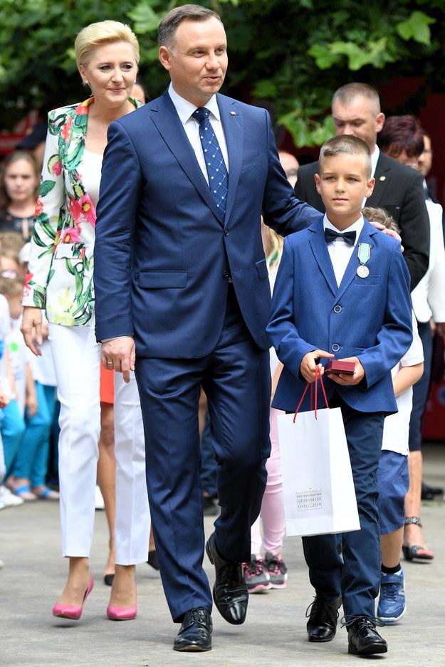 Adrian Grodzki z prezydentem Andrzejem Dudą /Jacek Turczyk /PAP