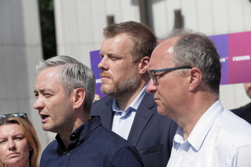 Adrian Zandberg, Włodzimierz Czarzasty i Robert Biedroń /Wojciech Olkuśnik /PAP