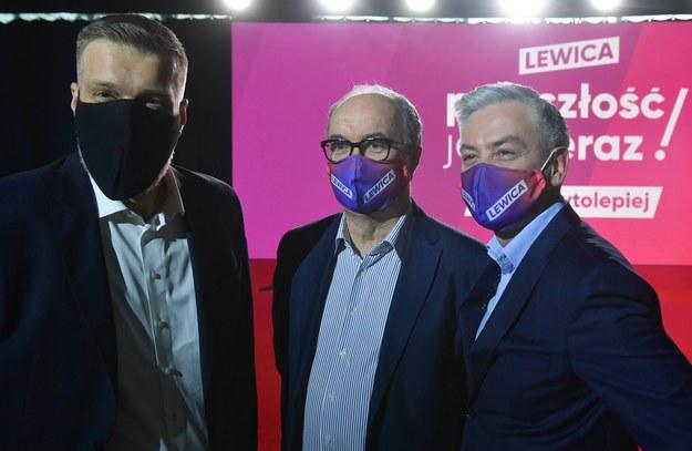 Adrian Zandberg, Włodzimierz Czarzasty i Robert Biedroń /Radek  Pietruszka /PAP