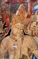 Adżanta, malowidło na ścianie jednej z grot przedstawiające Bodhisattwę z niebieskim lotosem, V /Encyklopedia Internautica