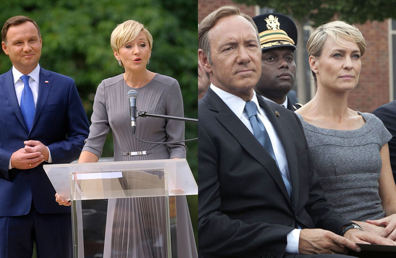 Agata Duda (L) i Claire Underwood (P, w osobie Robin Wright) /Akpa / Collection Christophel /East News