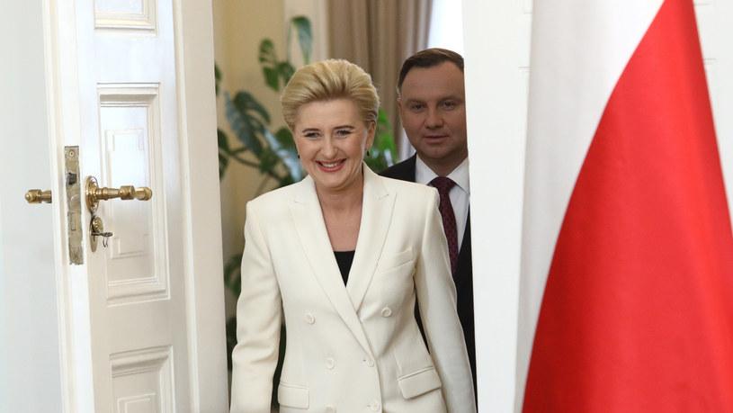 Agata Duda z mężem /Adam Jastrzębowski /Reporter