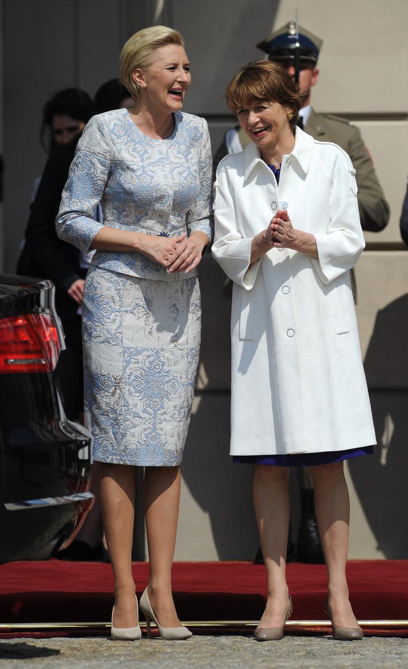 Agata Duda z żoną prezydenta Niemiec /Agencja FORUM