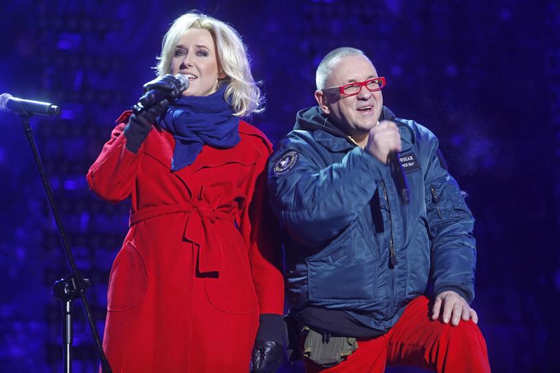 Agata Młynarska i Jerzy Owsiak podczas jubileuszowego, 20. finału WOŚP w 2012 roku /AKPA