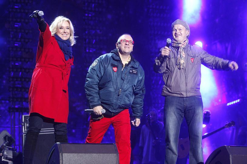 Agata Młynarska, Jerzy Owsiak i Irek Bieleninik w 2012 roku / Jordan Krzemiński /AKPA