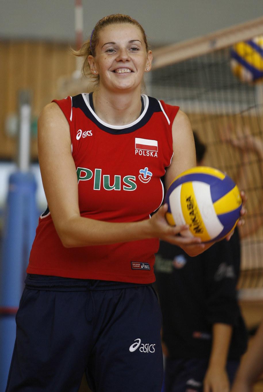 Agata Mróz podczas treningu reprezentacji Polski w 2006 roku / Andrzej Grygiel    /PAP