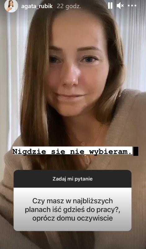 Agata Rubik nie wybiera się do pracy /Screen z instastory www.instagram.com/agata_rubik/ /Instagram