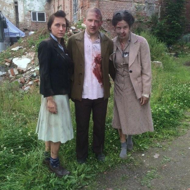 Agnieszka, Adam i Ola na planie w dolnośląskim Walimiu /Bartłomiej Paulus /RMF FM