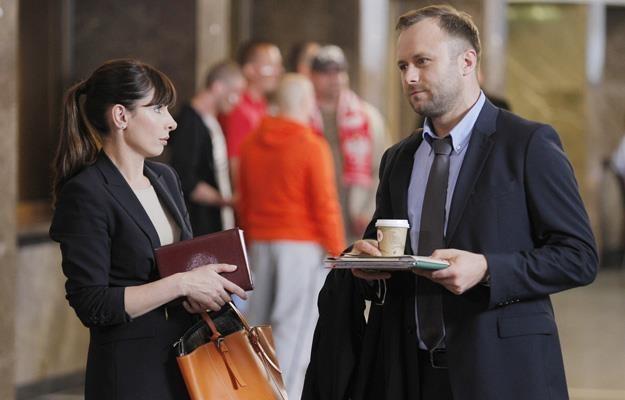 """Agnieszka Dygant i Leszek Lichota na planie serialu """"Prawo Agaty"""" /AKPA"""