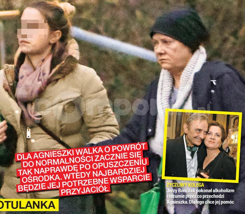 Agnieszka Kotulanka z córką przed kliniką uzależnień /Na żywo