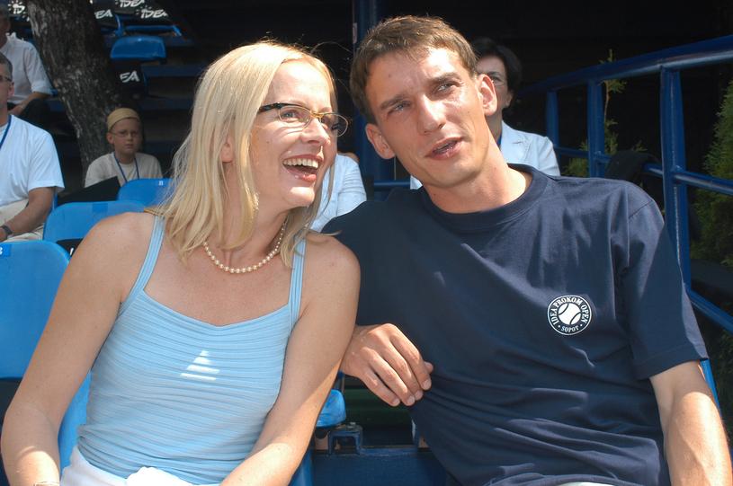 Agnieszka Krukówna z mężem w 2003 roku /Mikulski /AKPA