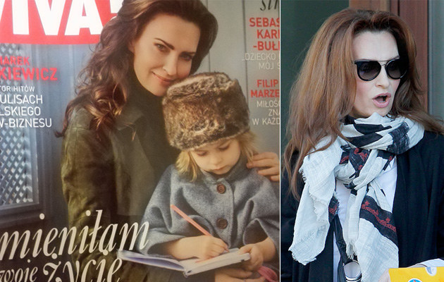 "Agnieszka Maciąg z córką (zdjęcie okładki gazety ""!Viva"") /Krzemiński Jordan, ""!Viva"" /AKPA"
