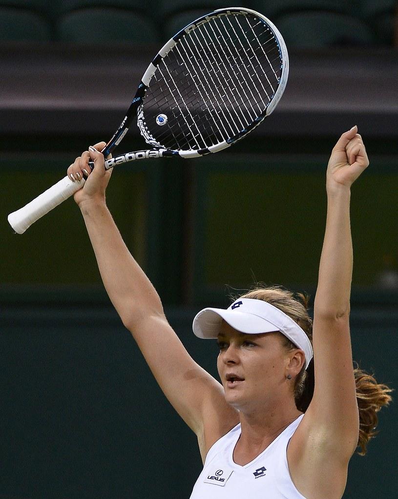 Agnieszka Radwańska cieszy się z awansu do półfinału Wimbledonu /. /AFP