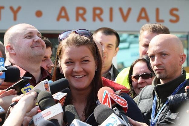 Agnieszka Radwańska na krakowskim lotnisku/fot. Stanisław Rozpędzik /PAP