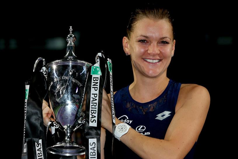 Agnieszka Radwańska po wygraniu mistrzostw WTA w 2015 roku /Matthew Stockman /Getty Images