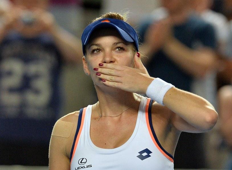 Agnieszka Radwańska po zwycięskim meczu /AFP