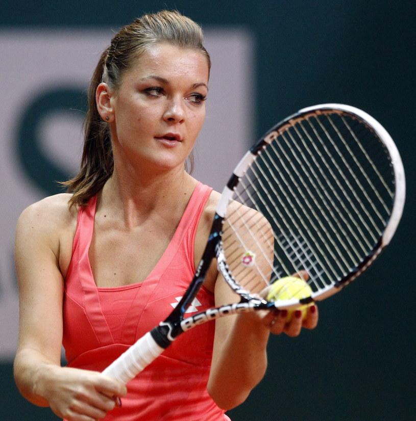 Agnieszka Radwańska podczas meczu pokazowego rozegranego w ramach turnieju WTA BNP Paribas Katowice Open /Andrzej Grygiel /PAP