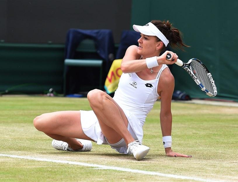 Agnieszka Radwańska podczas meczu z Dominiką Cibulkovą /PAP/EPA