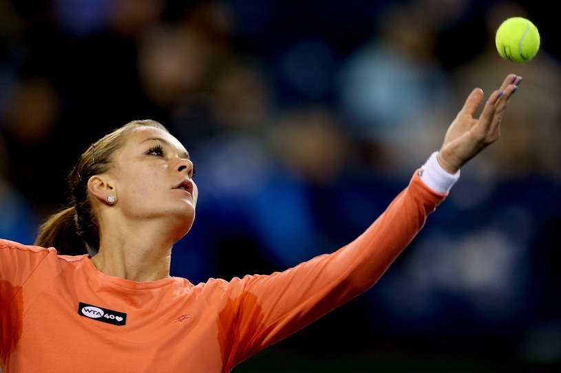 Agnieszka Radwańska podczas meczu z Marią Sanchez. /AFP