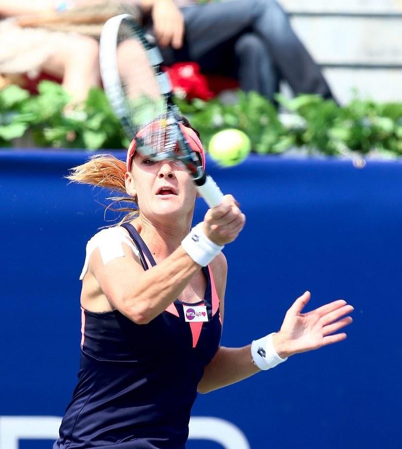 Agnieszka Radwańska podczas meczu z Rosjanką Anastazją Pawliuczenkową /PAP/EPA
