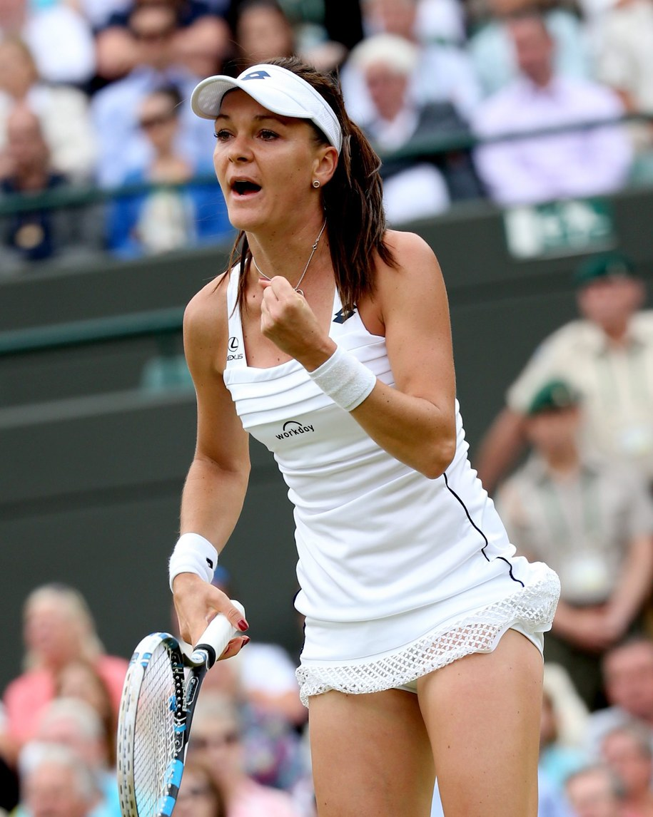 Agnieszka Radwańska w ćwierćfinałowym meczu Wimbledonu przeciwko Amerykance Madison Keys /SEAN DEMPSEY /PAP/EPA