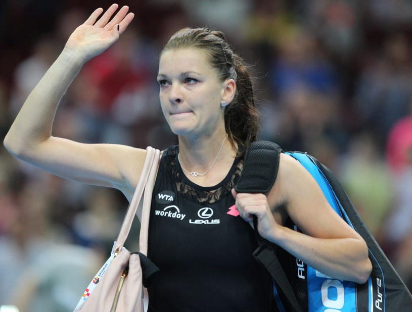 Agnieszka Radwańska żegna się z turniejem w Katowicach /Andrzej Grygiel /PAP