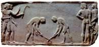 Agon: zawodnicy rozpoczynający grę w poprzedniczkę hokeja na trawie, Ateny, 510 r. p.n.e. /Encyklopedia Internautica