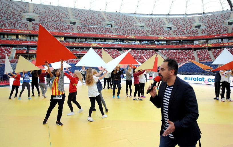 Agustin Egurrola prowadzi próbę na Stadionie Narodowym /Bartłomiej Zborowski /PAP