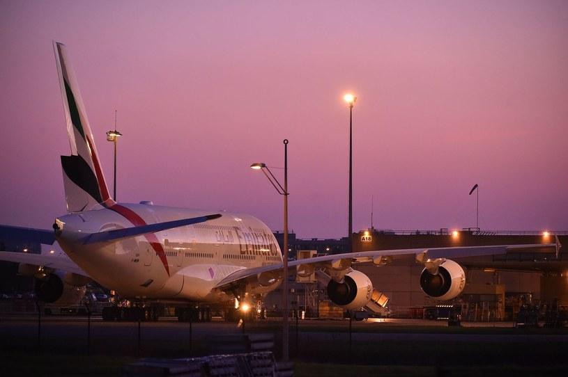 Airbus A380 linii Emirates w Tuluzie /