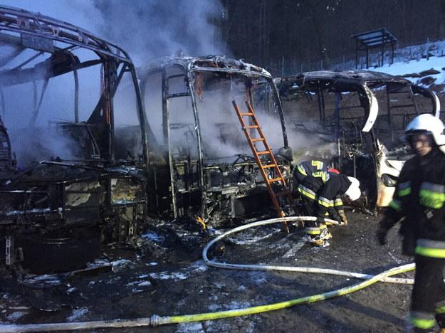 Akcja dogaszania pożaru trzech autokarów na parkingu przy ośrodku wypoczynkowym w Lądku-Zdroju /Ochotnicza Straż Pożarna Lądek-Zdrój /PAP