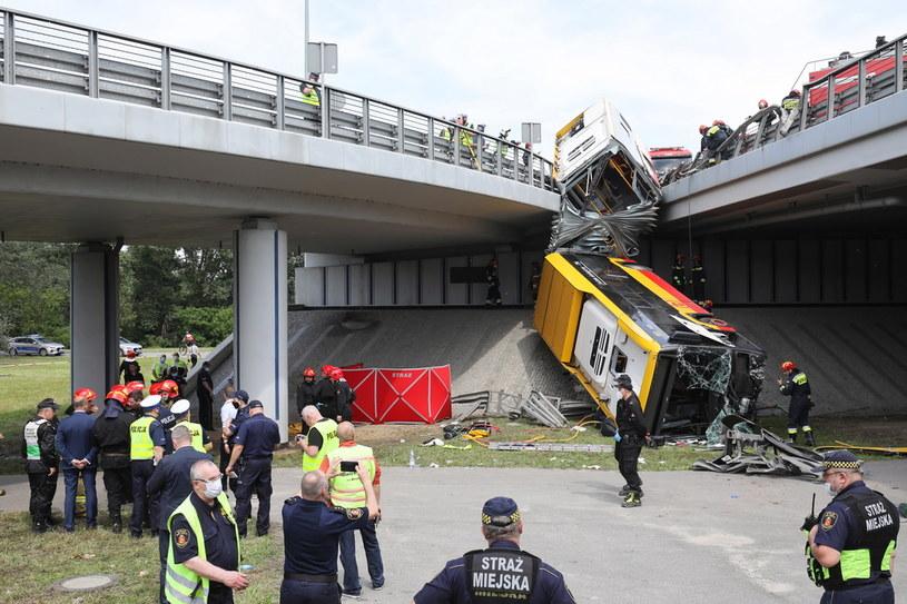 Akcja na miejscu wypadku /Paweł Supernak /PAP