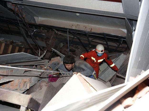 Akcja ratunkowa w Chinach /XIAO FAN /PAP/EPA