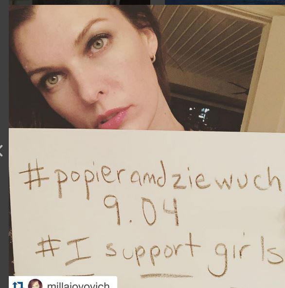 Akcję poparły także zagraniczne gwiazdy, m.in.Mila Jovovich/fot. Oficjalny profil Anji Rubik na Instagramie /Styl.pl