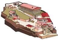 Akropol ateński - rekonstrukcja 1. Świątynia Nike Apteros, 2. Prpoyleje, 3. Sanktuarium Artemidy /Encyklopedia Internautica