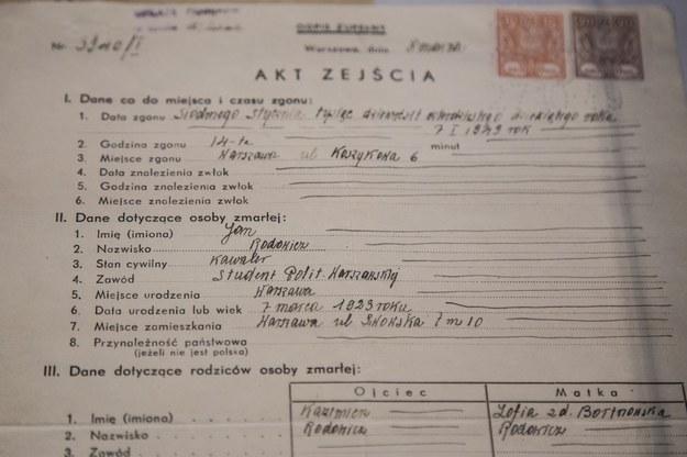 """Akt zgonu Jana Rodowicza """"Anody"""" /Maciej Łuczniewski /Reporter"""