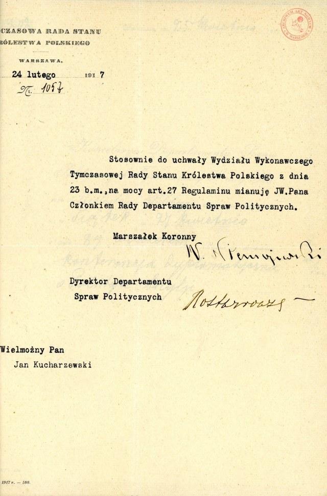 Akta Jana Kucharzewskiego /Archiwum Akt Nowych